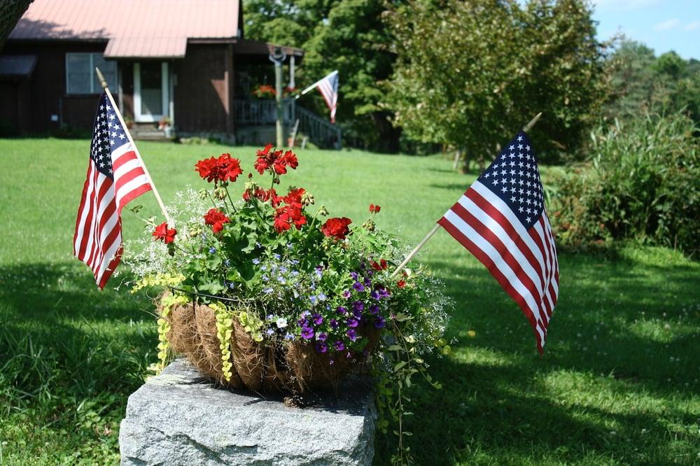 American flags in flower pot