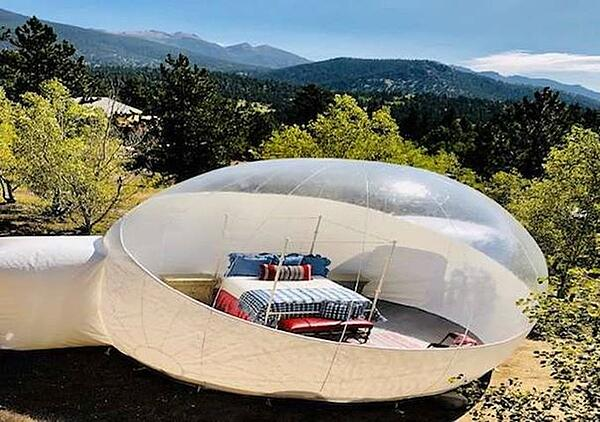 Bubble tent in the mountains