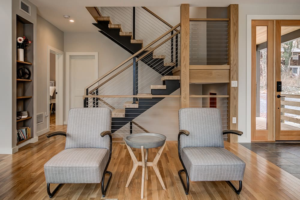 Stairway and living room