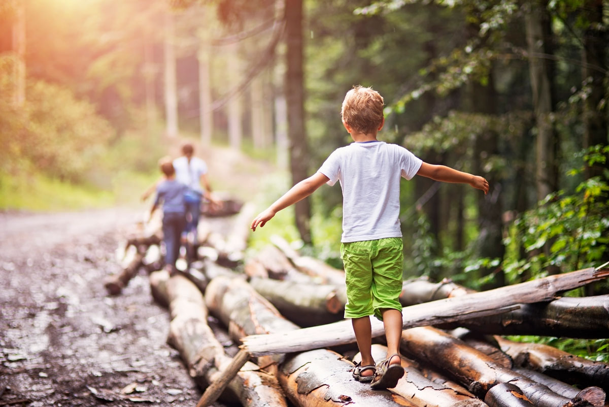 Children playing in woods