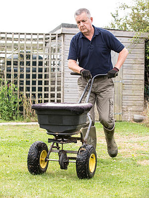 man seeding grass on lawn