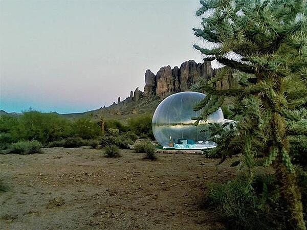 Bubble tent in the desert