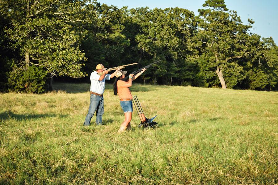 Shana and Burton Ouzts dove hunting in backyard