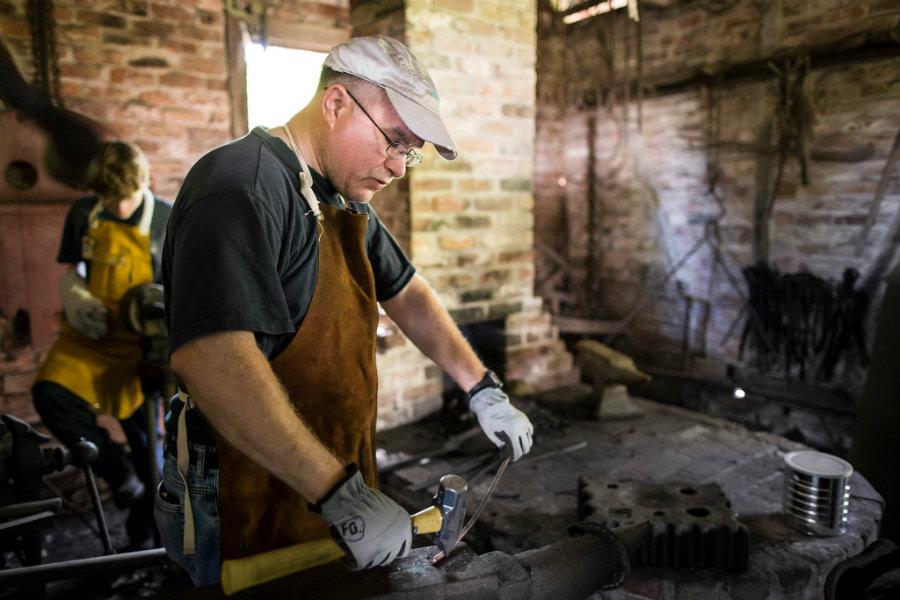 blacksmith demonstration at the LSU Rural Life Museum