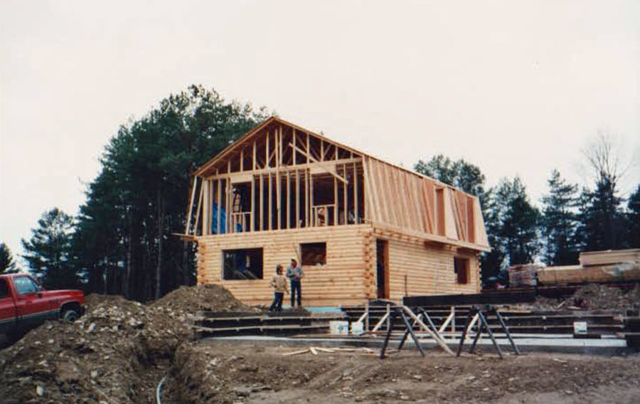 Building log house frame