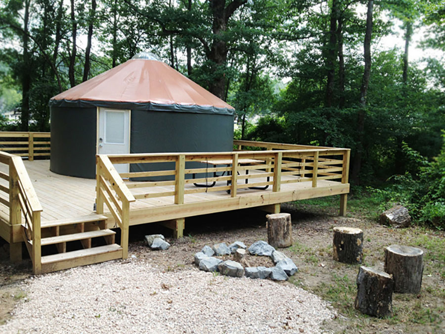 You can glamp in a yurt at Catherine's Landing