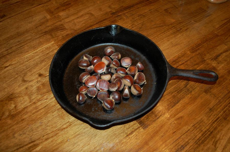 chestnuts roasting in frying pan