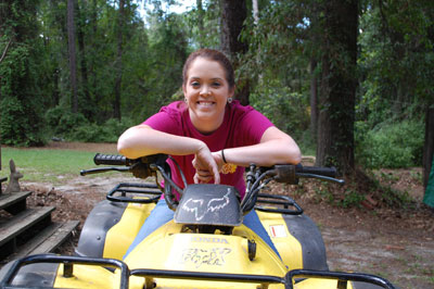 Holly Gray on the four wheeler