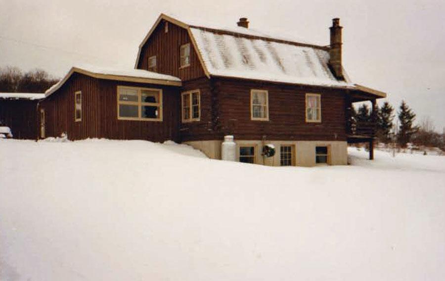Log house painted brown