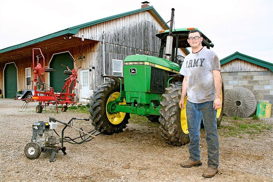 Their son is the farm mechanic