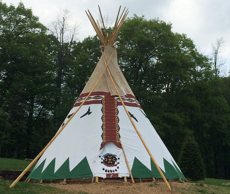 Stay in this teepee at Blue Bear Mountain in Todd, NC