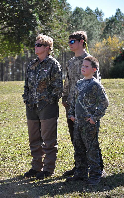 Adaire hunting with her sons Dustin and Payton