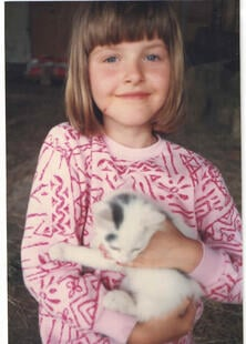 Me with an adopted barn cat